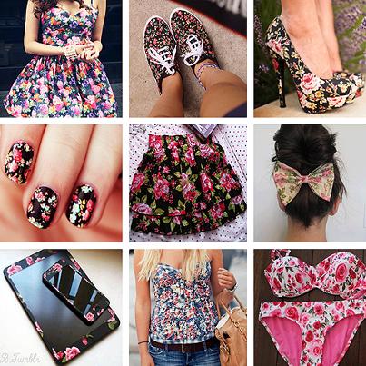 fiori alla moda sui vestiti smartphone unghie ecc.