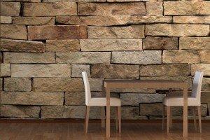 papier-peint-trompe-mur de pierres table et chaises