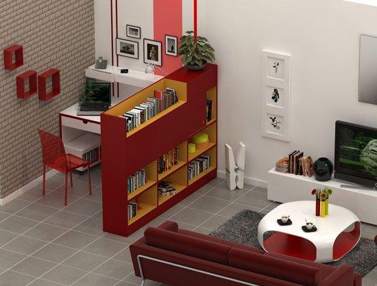 bureau dans le salon
