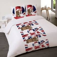 housse de couette drapeau anglais et chien