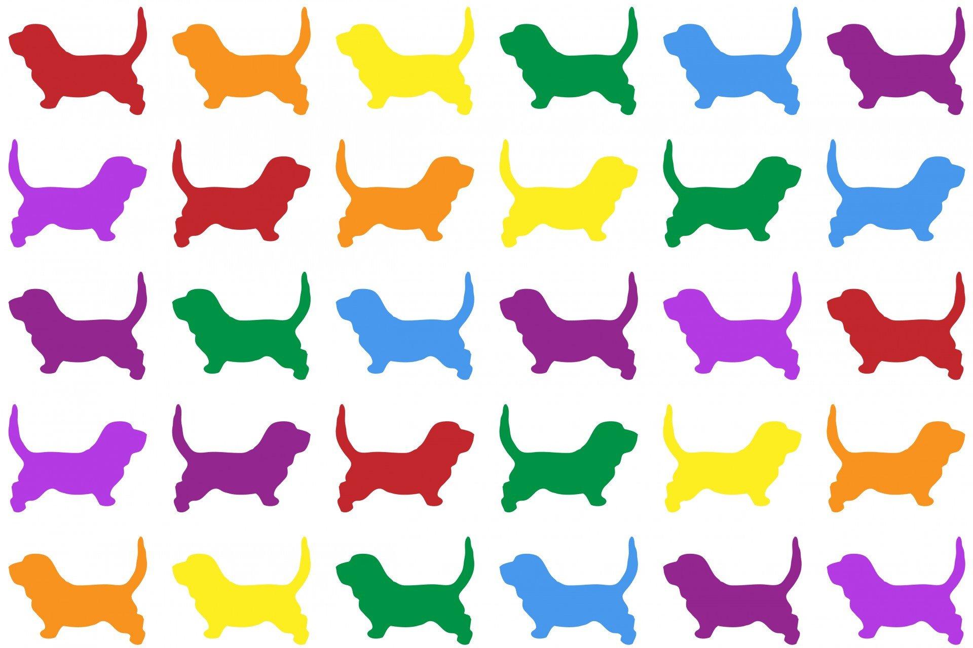 papier peint silhouettes chien colorees